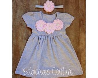Pink and Gray Dress, Heather Gray Dress, Baby Girl Gray Dress, Baby Girl Summer Dress, Baby Girl Clothes, Cute Baby Dress, Gray Play Dress
