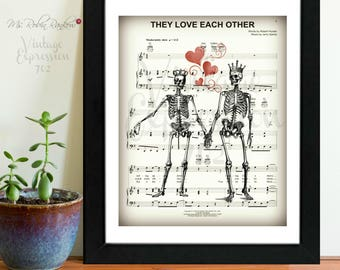 Grateful Dead, They Love Each Other, Wedding Gift, Anniversary Gift, Bridal Shower Gift, Valentines Day, on Music Sheet, Print