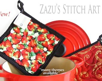Handmade Hot Pads Strawberry Fruit Fabric Potholders Quilted Potholders Insulated Potholders Functional Fiber Art Pot Holders Handmade