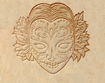 """Delrin Leather Stamp: Candy mask 5cm x 4,51cm (196"""" x 1.77"""")"""