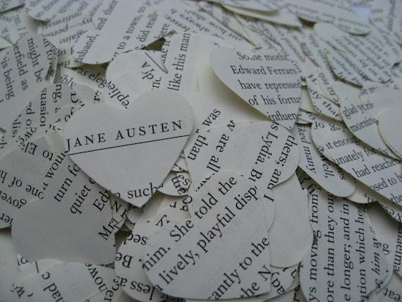 1000 Jane Austen Confetti, Heart-Shaped. Emma, Sense & Sensibility, Pride And Prejudice.  Custom Orders Welcome.
