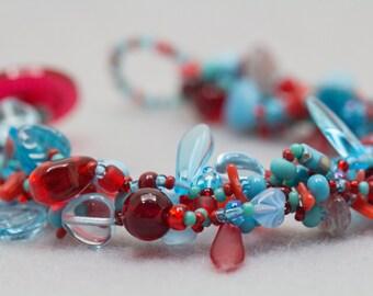 Turquoise Blue Red Beaded Bracelet / Rock Garden Jewelry / Simple Versatile Piece by randomcreative on Etsy