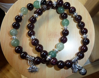 Bracelet Garnet, Garnet and aventurine 8mm with charm