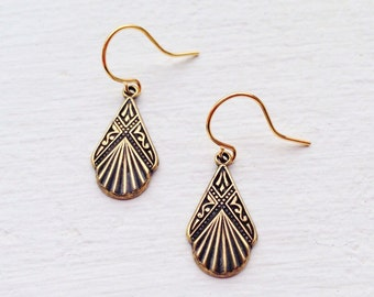 Small Gold Earrings/Boho Earrings/Gold Earrings/Art Deco Earrings/Dainty Earrings/Boho Chic/Small Earrings/Gift For Her/Petite Earrings