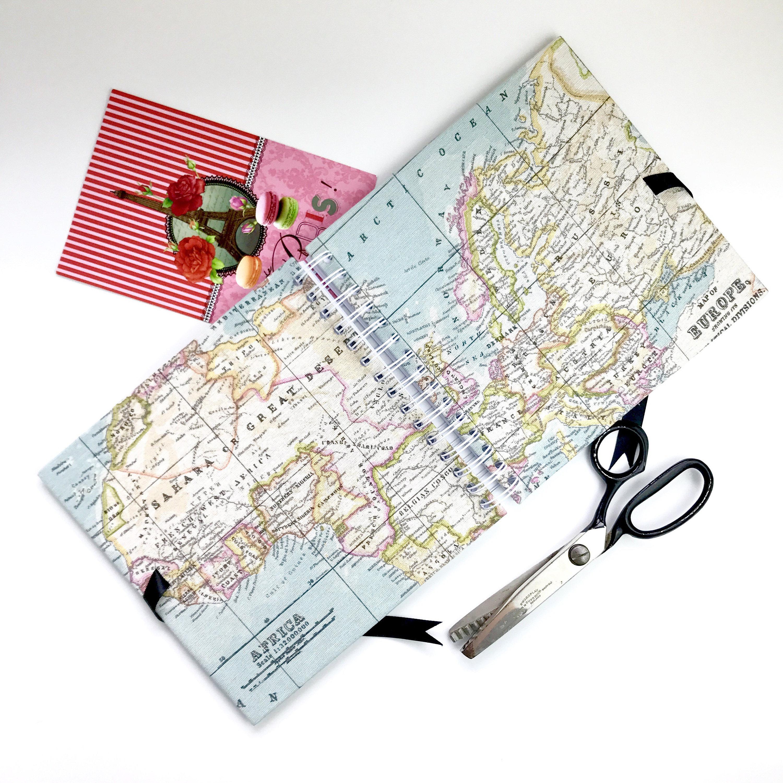 Travel scrapbook photo album world map atlas themed fabric 1629 shipping gumiabroncs Gallery