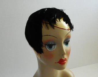 Vintage 1960s Jet Black Casque Feather Hat
