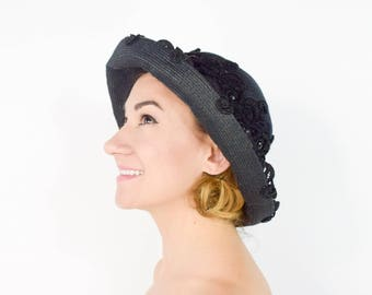 1900s Black Hat | Black Straw Lace Embroidered Cloche Hat