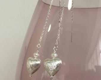 Elegant Fresh Water Pearl and sterling silver earrings UK made