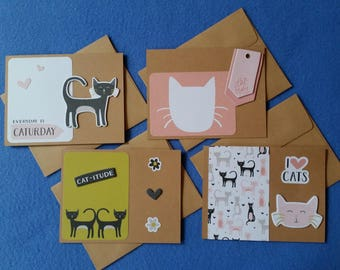 Four Handmade Greeting Cards for Cat Lovers, recycled kraft paper cat cards, blank cards - Catitude, I love cats, Cat Lady, Caturday