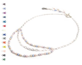 Kindness - Pancreatic Cancer Ribbon - Pastel and Silver Necklace - Cancer Ribbon - With Swarovski Pearls