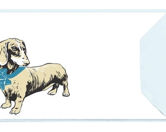 Dachshund with Blue Bow: Set of 5 Letterpress Cards