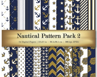 Navy Blue Gold Digital Scrapbook Paper Variety 24 Pack Anchor Pattern Damask Dot Chevron Stripe Floral - Commercial Use OK
