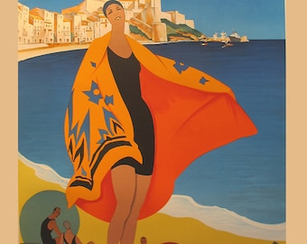 PARIS-LYON-MEDITERANEE ~  Vintage French travel poster - Beach house decor ~ Cottage decor ~ bathing beauty ~ Seaside resort art ~ art deco