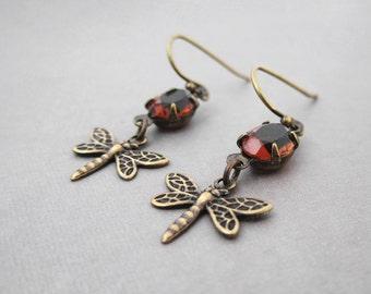 Dragonfly Jewelry - Brass Victorian Earrings  - Warm Brown