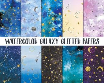 Watercolor Galaxy Digital Paper, Night Sky Scrapbook Paper, Space Digital Papers, Celestial Digital Papers, Watercolour Printable Papers