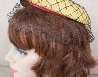 "Vintage Women's Veiled Textile Hat ""Gene Doris"""