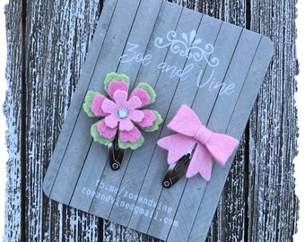 READY TO SHIP, Pink Light Green Wool Felt Flower Mini Bow Clip Set, Baby Clips, Infant Girls Adult Mini Snap Clips