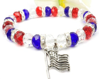 Red White and Blue Beaded Stretch Bracelet, July 4th Bracelet,  I Stand For The Flag Jewelry
