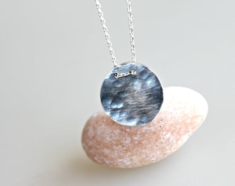 Delicate Necklace - Hammered Full Moon Necklace - Small Simple Short Necklace - Round Circle Necklace - Sterling Silver Handmade Metalwork