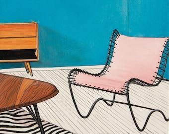 Fine Art Print - Midcentury Modern Pink Chair 8 x 8