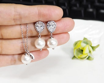 Bridesmaid gift set- initial necklace, Pearl Earrings, Swarovski Pearl Earrings, cubic zirconia earrings, bridesmaid gift, pearl necklace