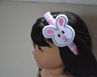 18 inch Doll Clothes - Little Bunny - Ribbon Woven Headband - PINK WHITE PURPLE- fits American Girl