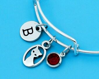 Cat Bangle, Cat Bracelet, Custom Any Charm, Personalized Bracelet, Charm Bangle, Monogram Bangle, Initial bracelets, Cat charm, Cat pendant