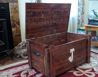 Updated design Toy Box/ solid board sides with inscription on lnside lid,