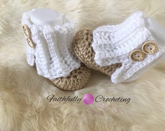 Newborn boots... baby booties... uggs style baby boots... ready to ship... tan and white