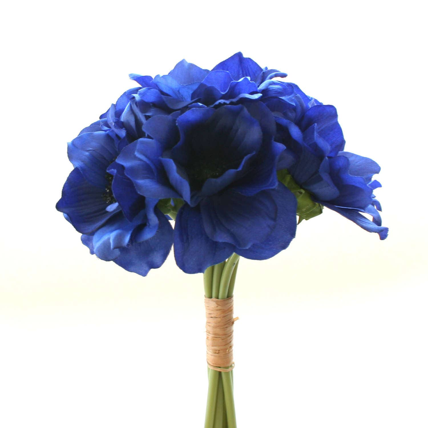 Blue silk flowers uk images fresh lotus flowers dark royal blue anemone bouquet artificial flowers silk flower izmirmasajfo