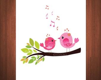 Happy Nursery Art Print Cute Little bird