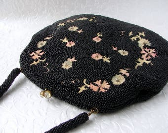 Vintage WALBORG Black Beaded Purse Floral Tambour Embroidery Rhinestone Clasp Formal Handbag Evening Bag Embroidered Flowers Wedding Formal