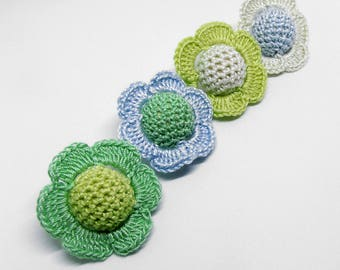 Crocheted beads - flowers, 20 mm handmade round balls cotton on wood, pastel mix