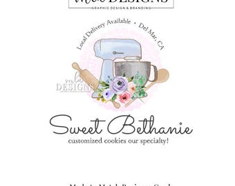 Cuisson Logo, Logo Cookie, aquarelle Logo, Logo de boulangerie, petit gâteau Logo Designs, Premade Logo, logo sur mesure, Boutique Logo, Logo de gâteau