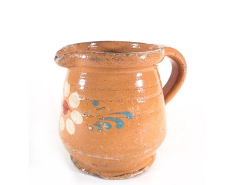 Alsatian Small Pitcher Glazed Pottery, French Jug, Sandstone, Earthenware, Shabby French Chic, French Farmhouse, Rustic Decor, Primitive Pot