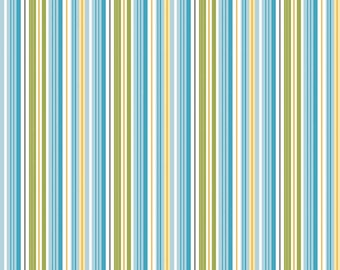 Blue White Yellow and Green Stripe Fabric - Half Yard - Fine and Dandy