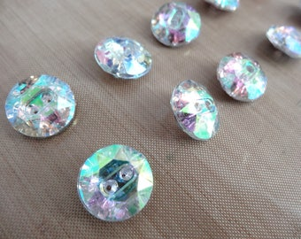 Buttons style Crystal AB - 15 mm - set of 10 rhinestone buttons