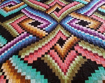 Colorful Twist Bargello Queen/King Size Bed Quilt