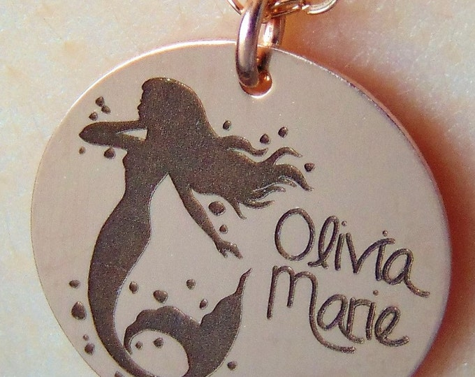 Mermaid Necklace with your name engraved in front.Necklace yellow gold rose gold