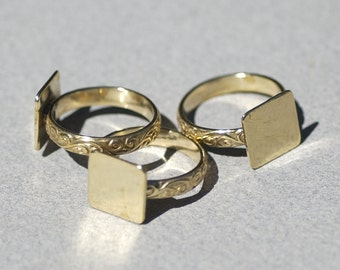 Bronze Flourish Ring with Square Glue Pad Finding for Gluing - Size 8