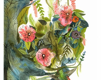 Hummingbirds- Archival print of Original Painting, botanical, bird art
