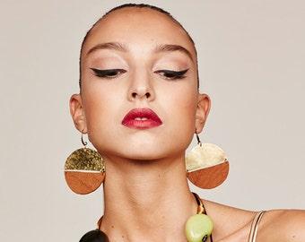 Ethnic disc earrings, Leather disc earrings, Big african earrings, african jewelry, boho earrings, boho disc earrings, tribal disc earrings