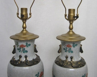 Chinoiserie Chinese Lamps, Pair