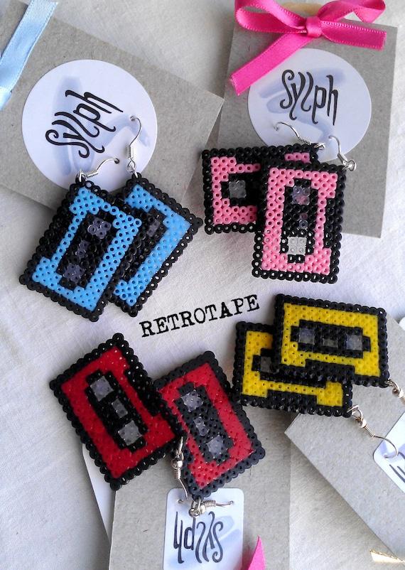 Earrings made of Hama Mini Perler Beads - Retrotape (various colors)