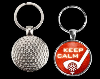 Your choice, golf key-chain - customizable sayings or photo - golf ball metal keychain - great gift for anyone