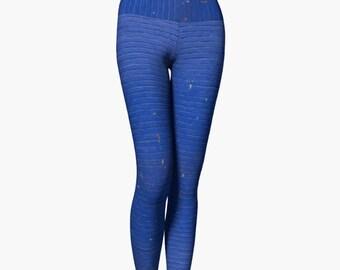 Yoga Leggings - Sea of Blue Brick Wall Original Photo Design Workout Wear