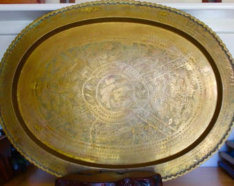 """LARGE Solid Brass Tray - 21 x 28"""" Made in Hong Kong - Chinese Fu 'Blessed' Symbol"""