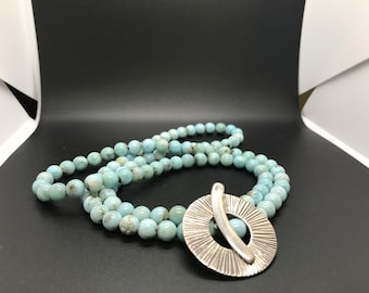 Saki Artist Sterling Silver Turquoise Toggle Close Necklace