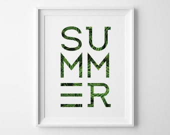 Modern Summer Poster, Modern Beach Decor, Surf Art, Black and Green Art Print Minimalist Decor, Palm Frond Leaf, Beach House Minimal Art