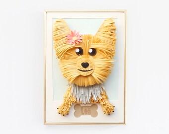 Custom Dog Portrait, Terrier Pet Portrait, Dog Art, pet art, pet portrait, paper art, paper portrait, paper pet portrait, pet lover, terrier